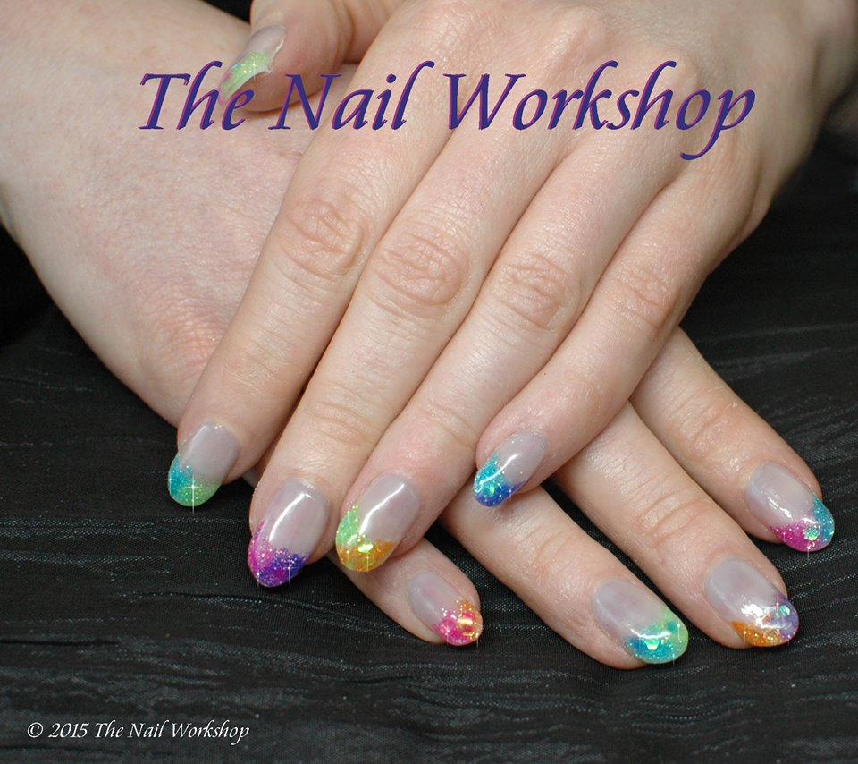 Acrylic Encapsulted Rainbow Nails