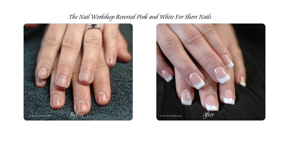 Nails Acrylic Sculptured Reversed Pink And White