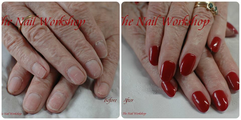 Gel Polish Manicure Before And After Acyrlic Sculptured Nails