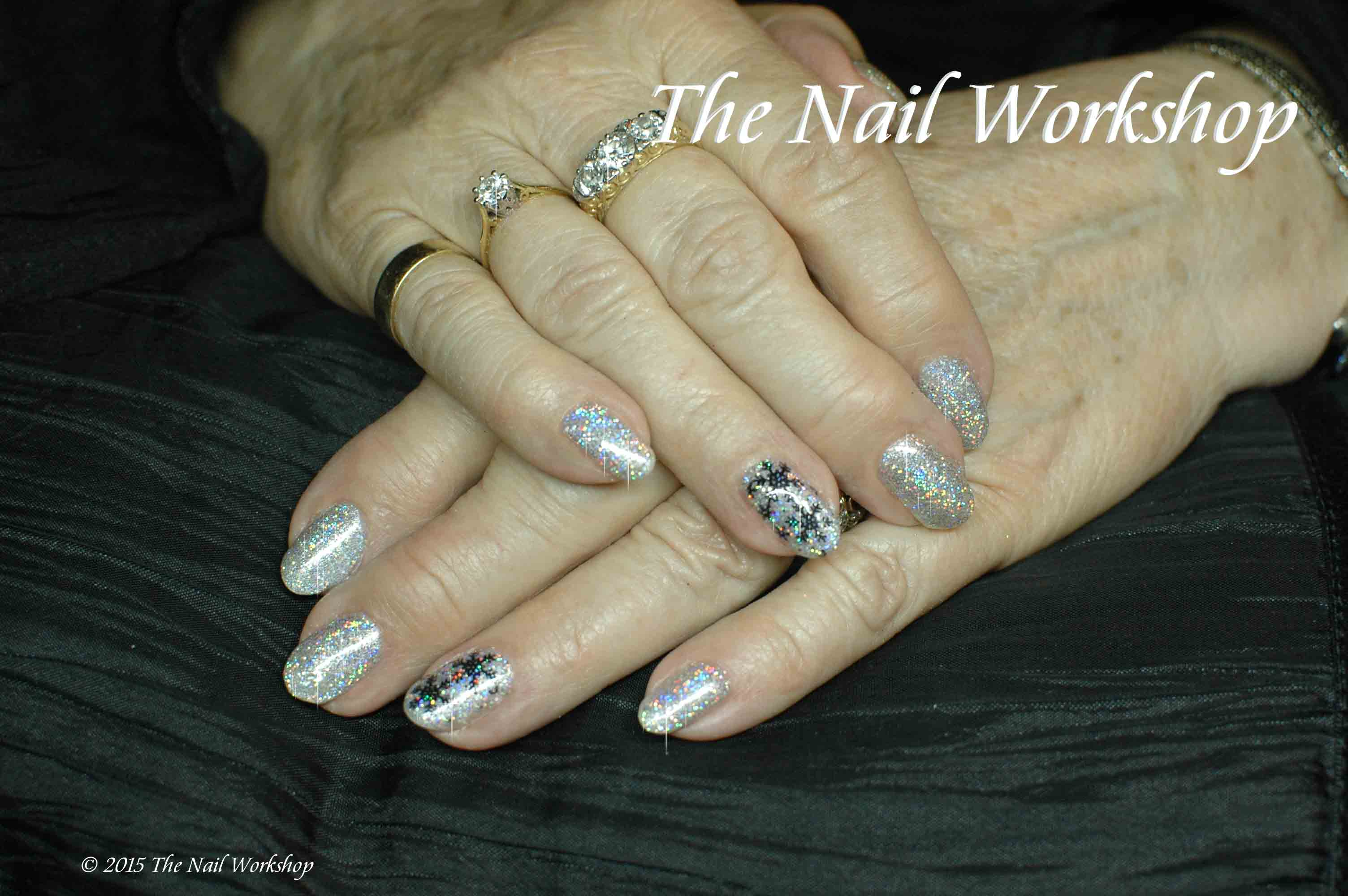 Gelish Silver Glitter with hologram Christmas Nails