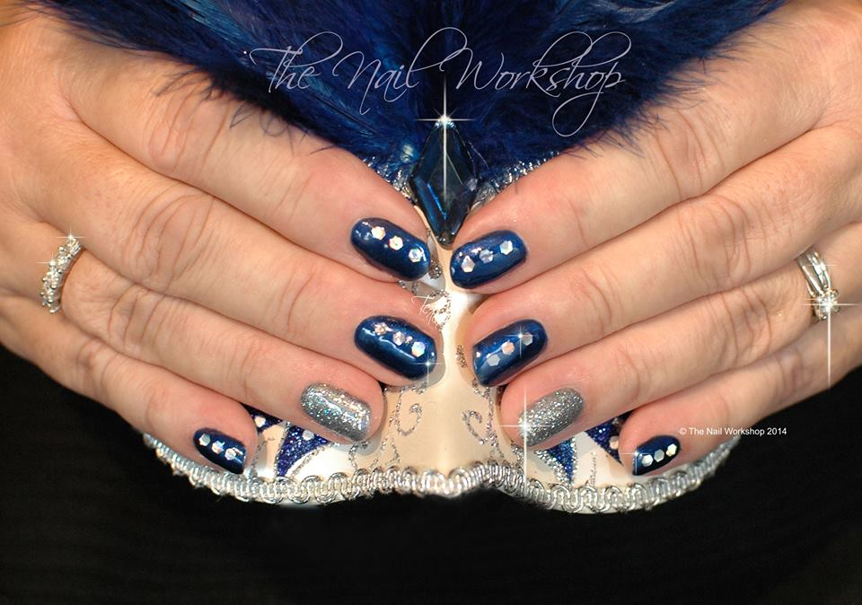 Gel II Blue with Chunky Glitter Christmas