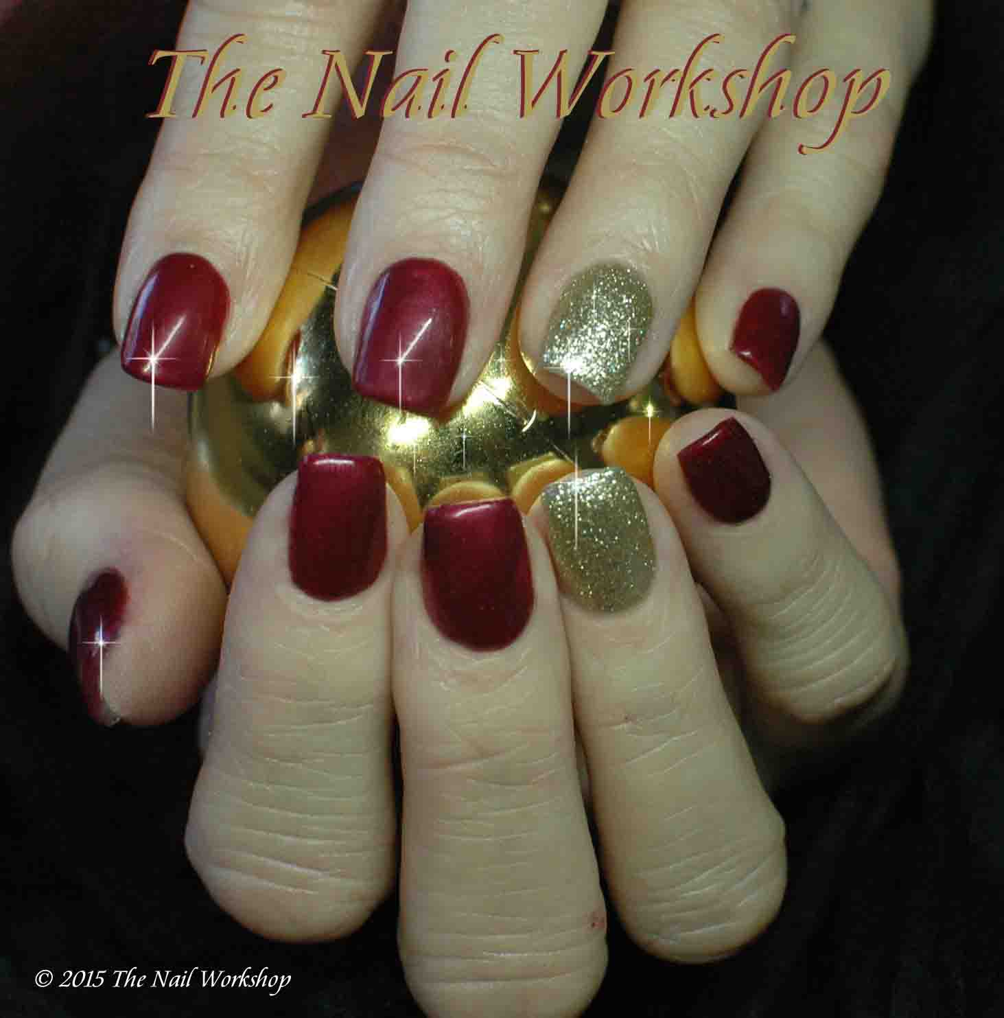 Gel II Cactus Wine and Golden Mirage Christmas Nails