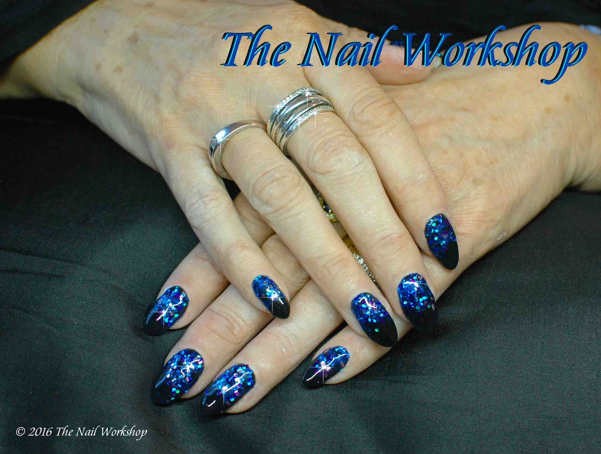 Gel II Midnight Black with Blue Glitter