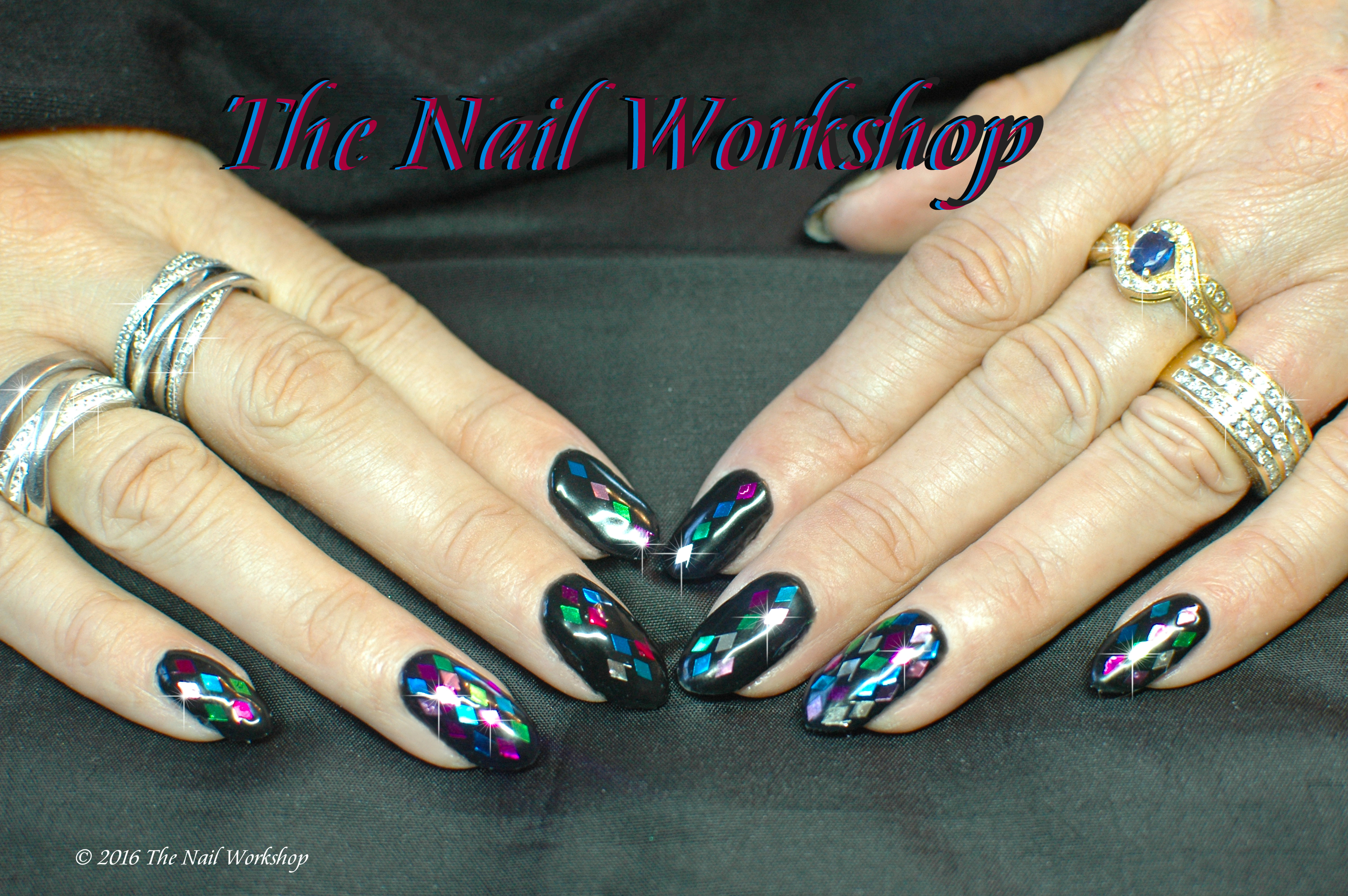 Gel II Midnight Black with Diamond Glitter Pieces