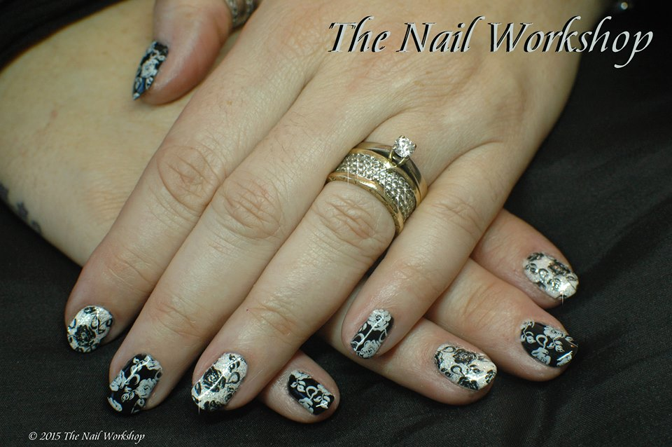 Gel II Midnight Black, Arctic White and White Glitter with Back and White Rose Stamping