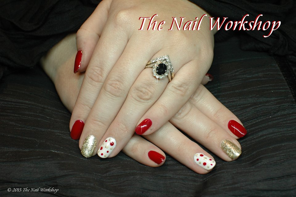 Gel II Red White and Gold with Dots Christmas