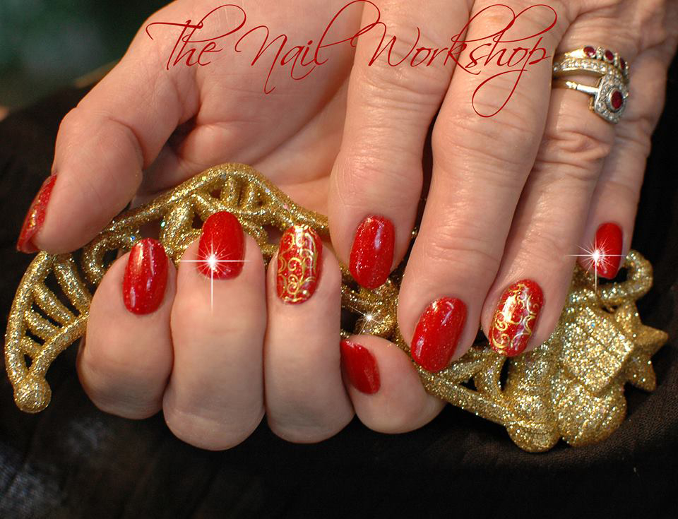 Gel II Red with gold Stamping Christmas