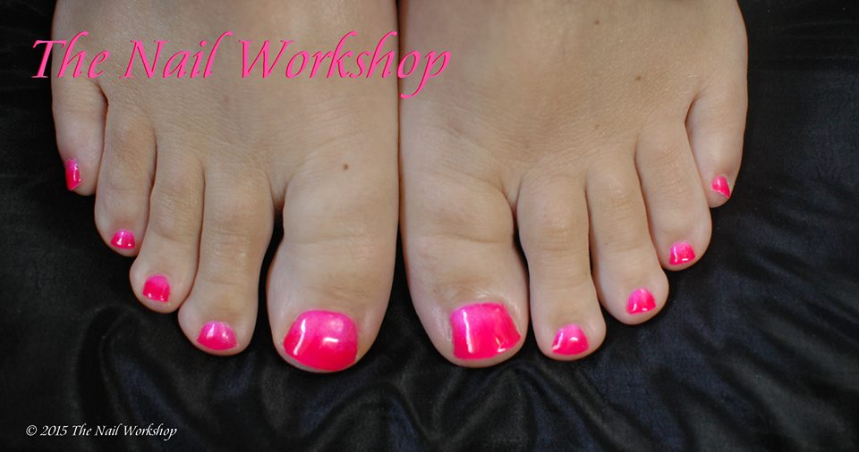 Gel Pedicure Pink and Orange Ombre