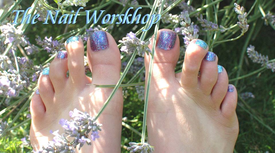 Gel Pedicure with Glitter