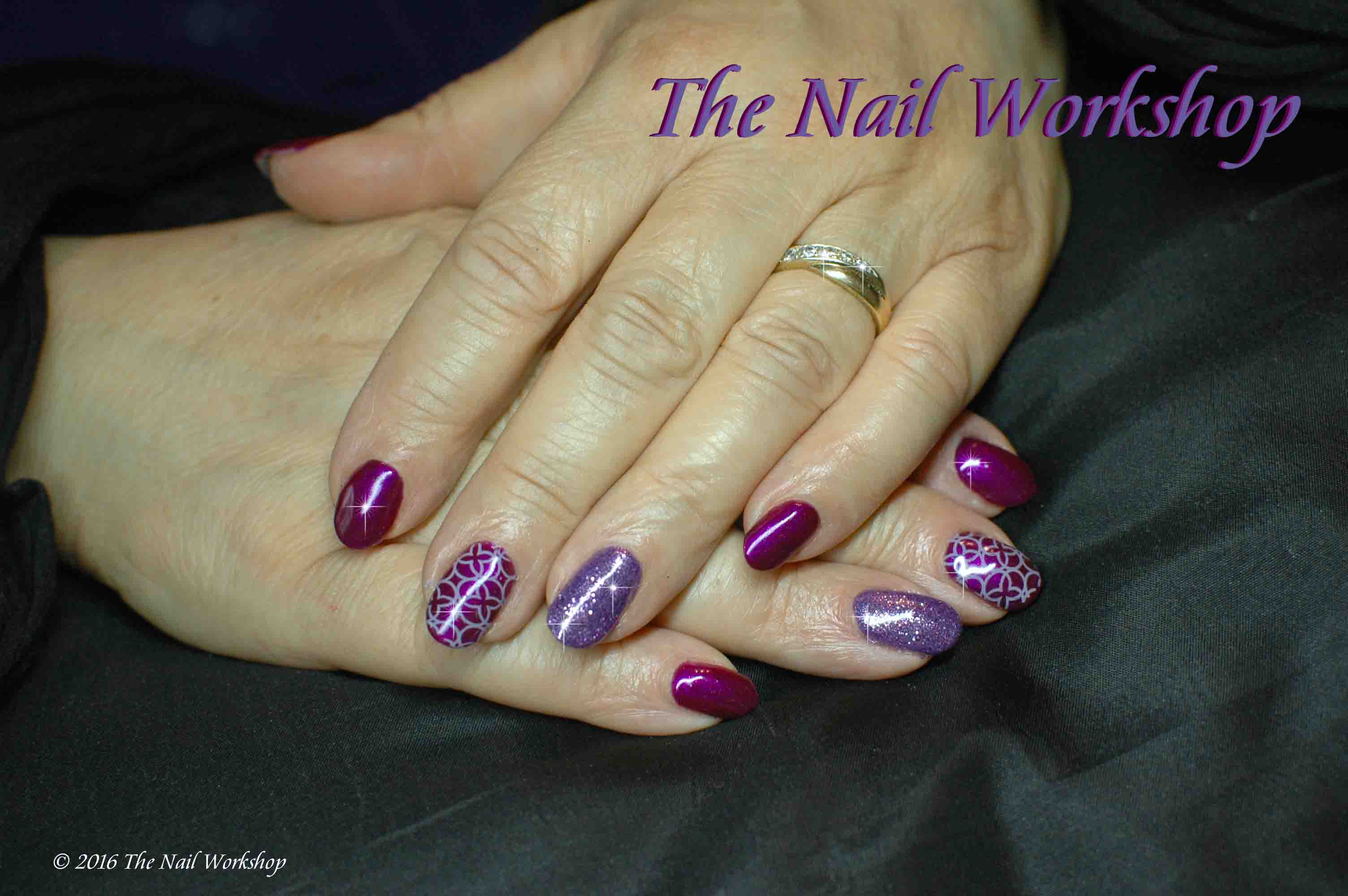 Gelish Berry Buttoned Up with Lilac Glitter and Stamping