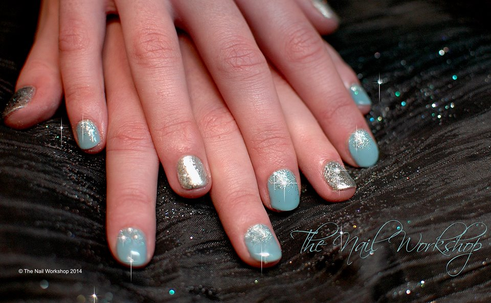 Gelish Blue with Silver Fine Glitter Christmas