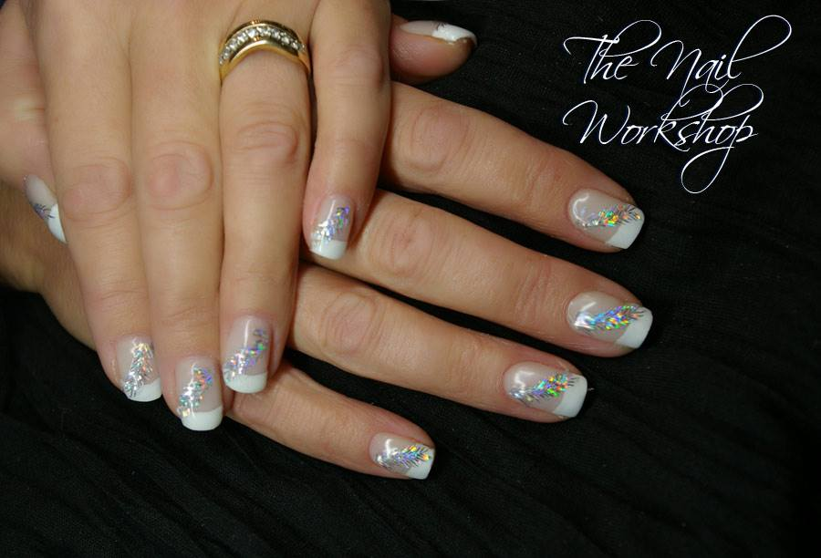 Gelish French with Hologramed Feathers Christmas
