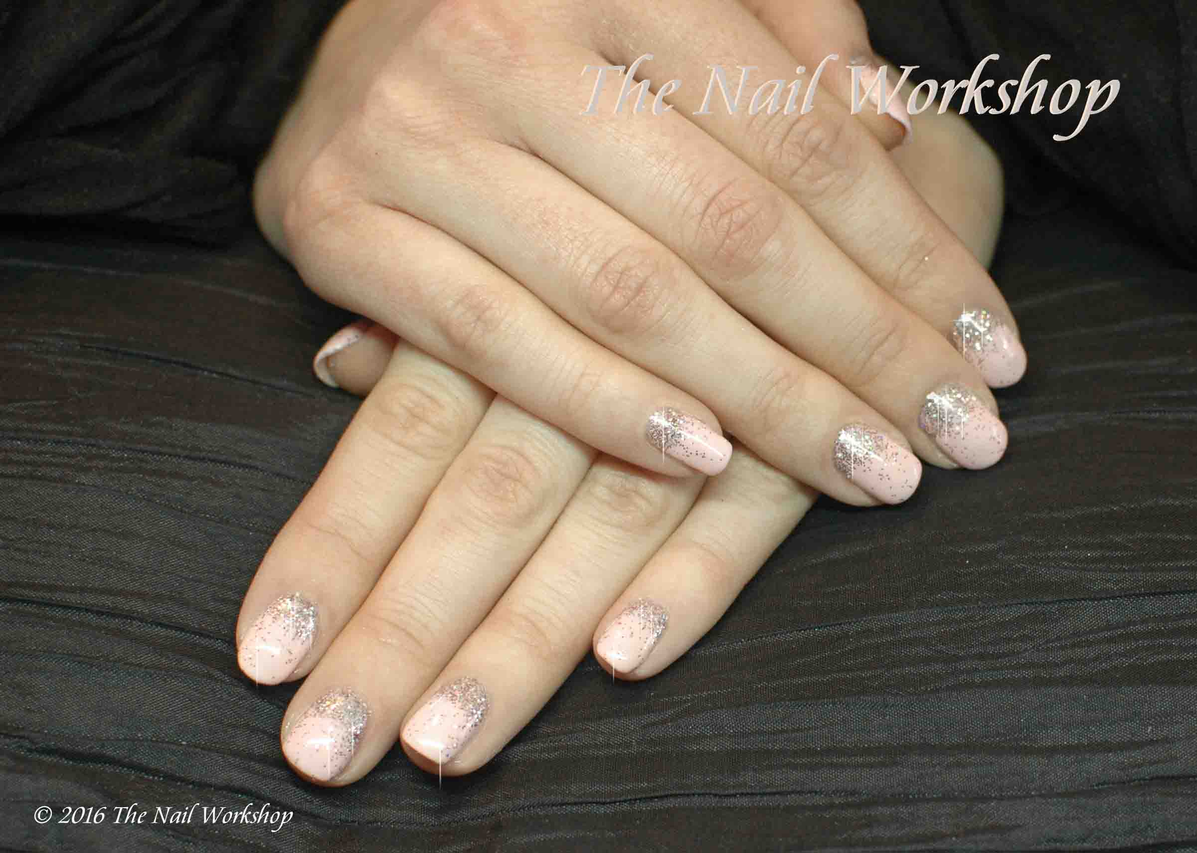 Gelish Hard Gel with Gold Glitter