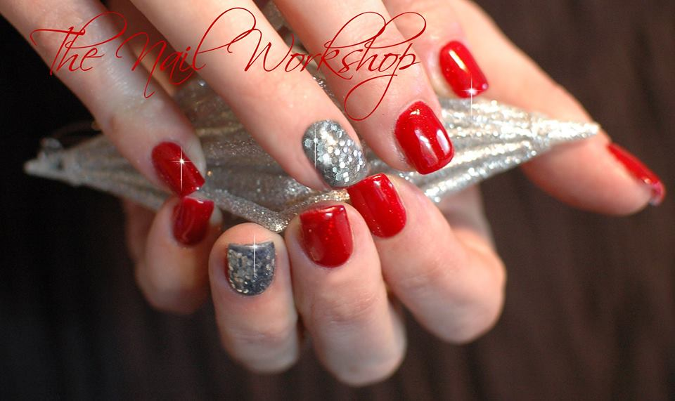 Gelish Hot Rod Red with Silver Glitter Christmas