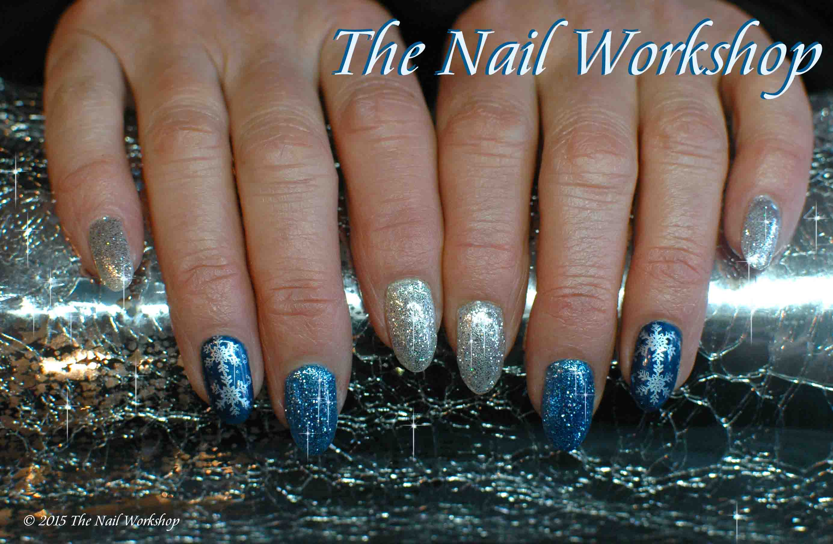 Gelish Magneto Blue and Silver with Glitter