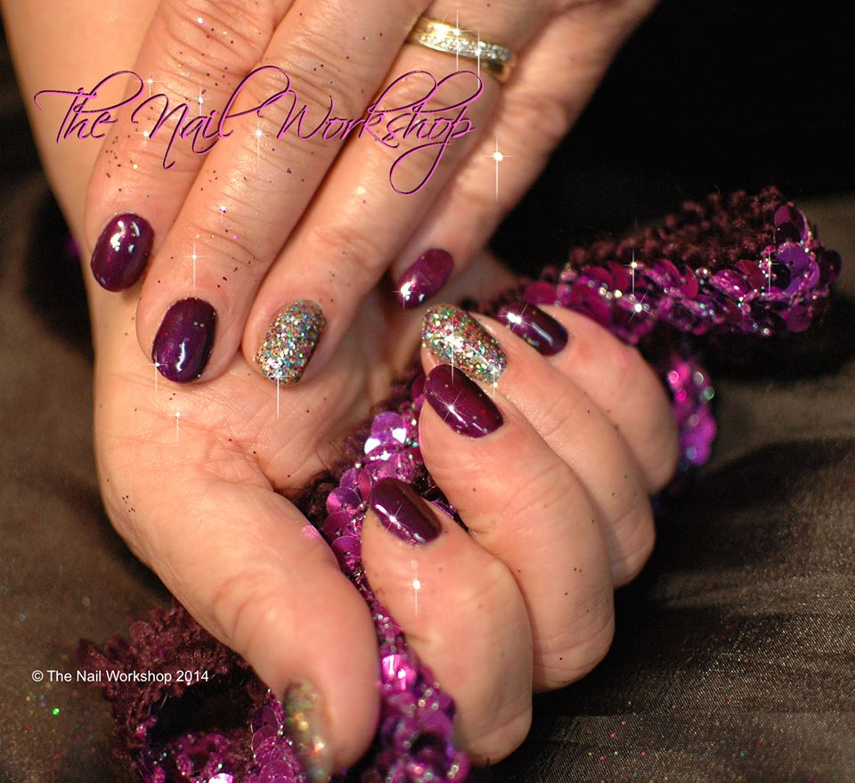 Gelish Night Reflection Purple with Glitter New Years Eve