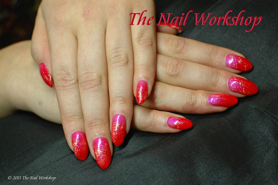 Gelish Orange and Pink Pigment Ombre