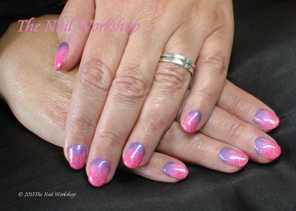 Gelish Pink Ombre with glitter