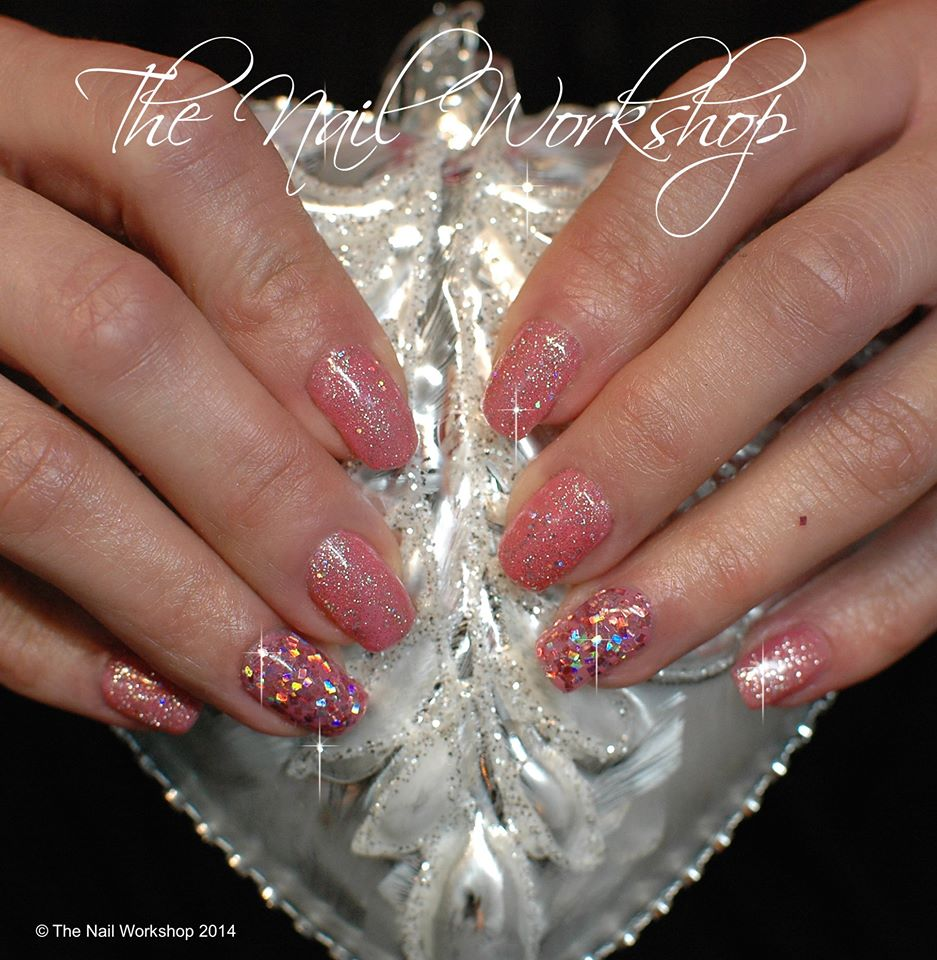 Gelish Pink with chunky Pink and Gold Glitter Christmas
