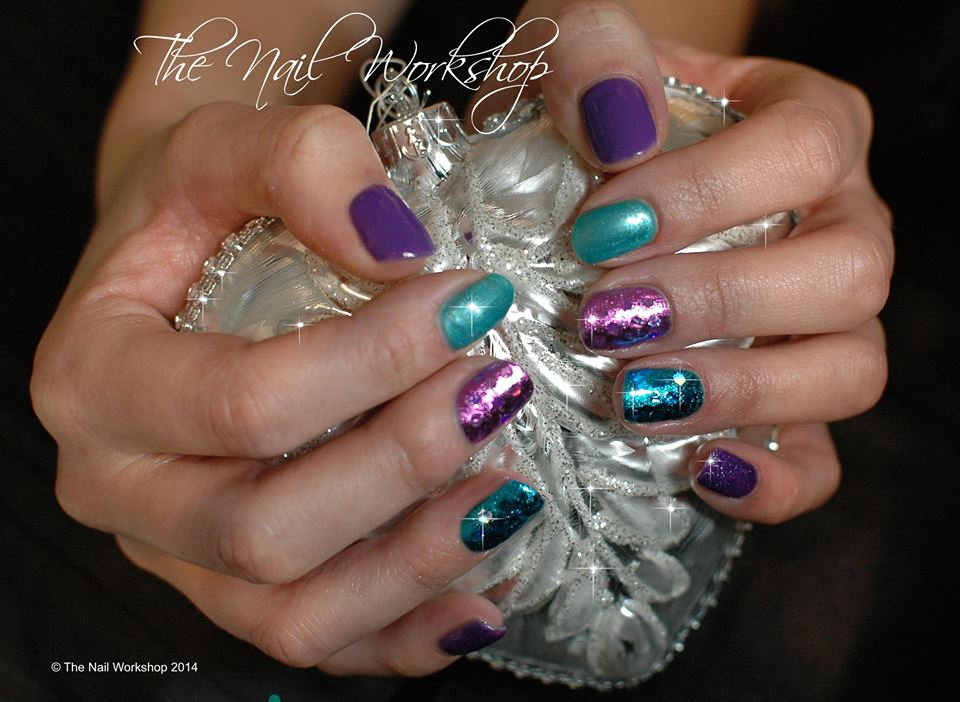 Gelish Purple and Green Foils and Glitter Christmas