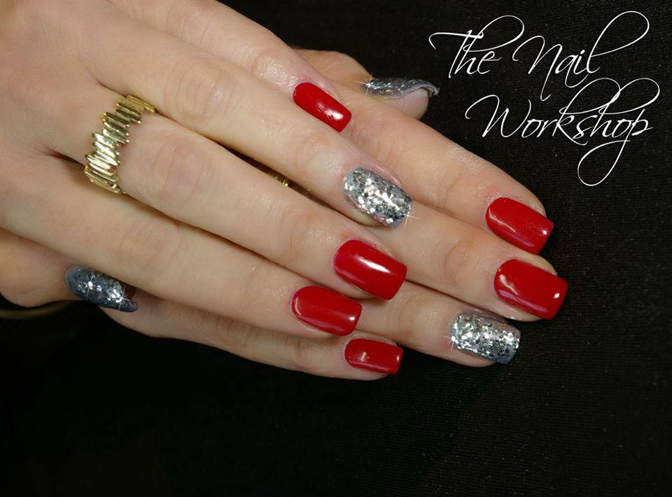 Gelish Red with Silver Glitter Christmas