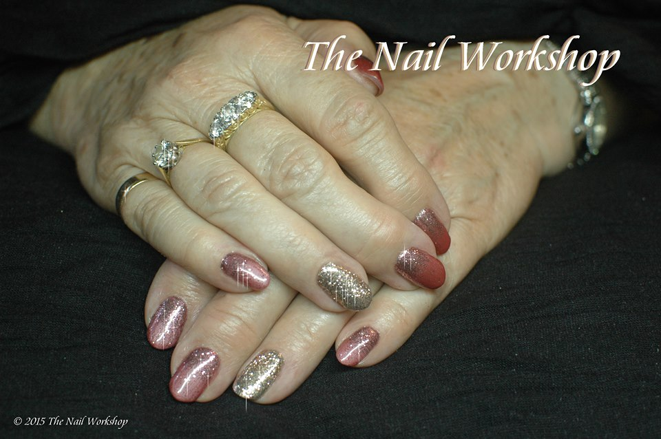 Gelish Night Reflection with Diamond Glitter Pieces