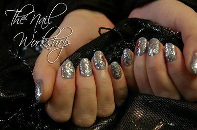 Gelish with Silver Chunky Glitter