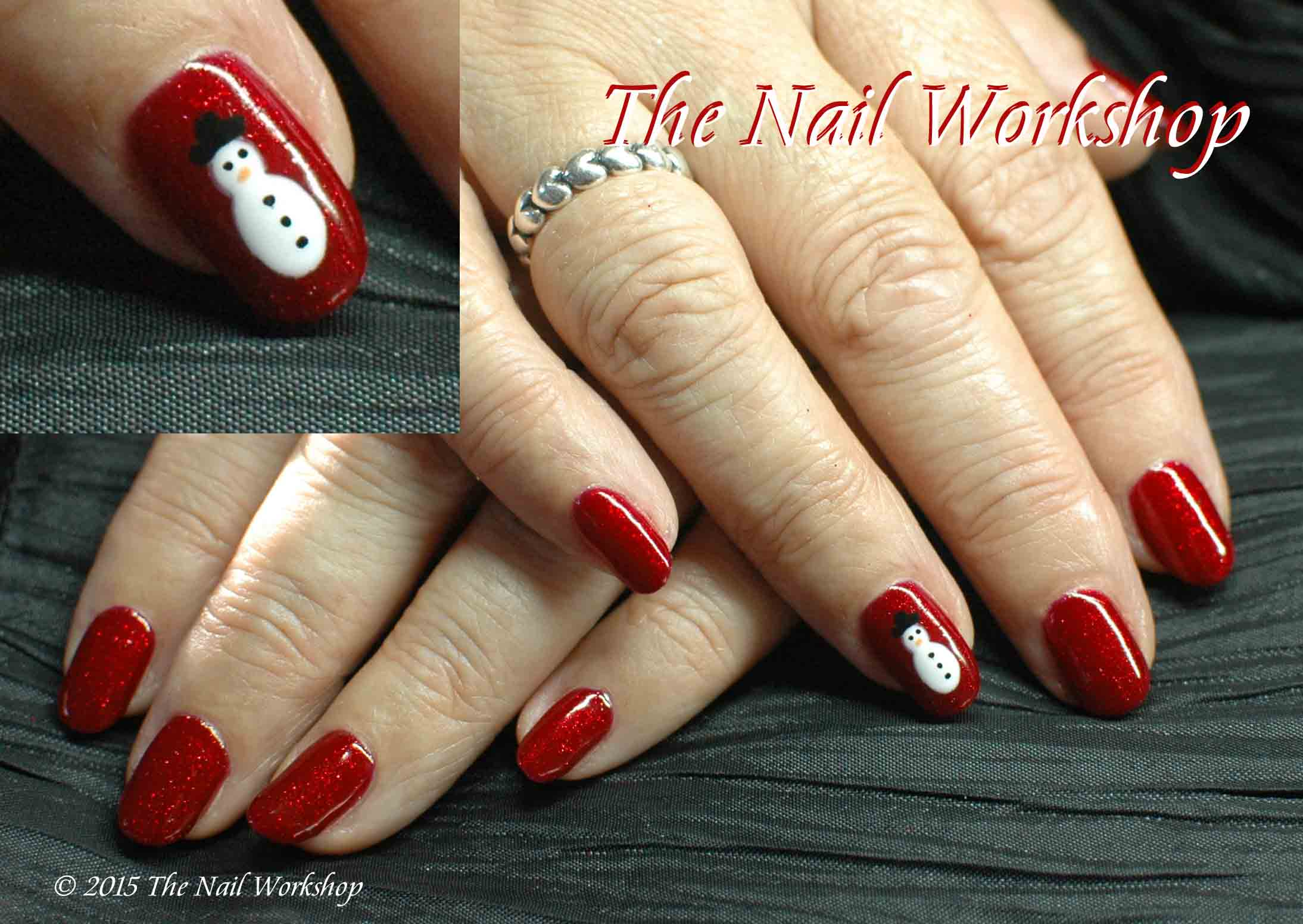 Gel II My Fair Lady Red Glitter and hand painted snowman