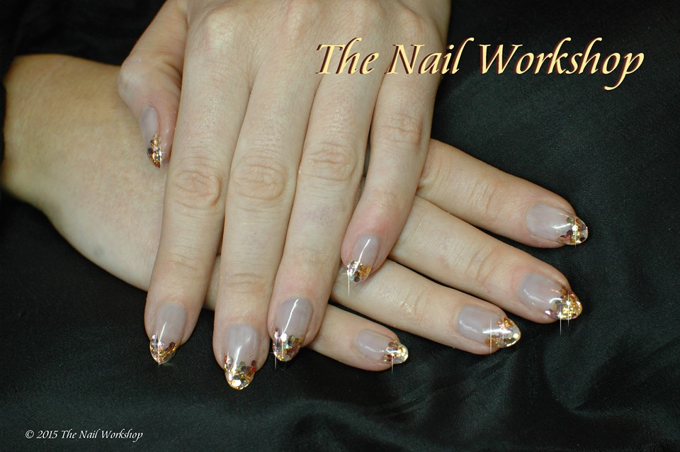 ProHesion Acryic Sculptured Nails with Golden Glitters