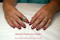Gelish Red-y to-Wear with feather and Vegas Nights - Click here to enlarge this image
