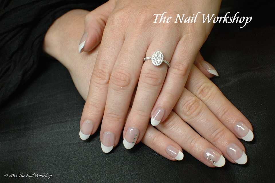 Sculptured Acrylic French Wedding Nails