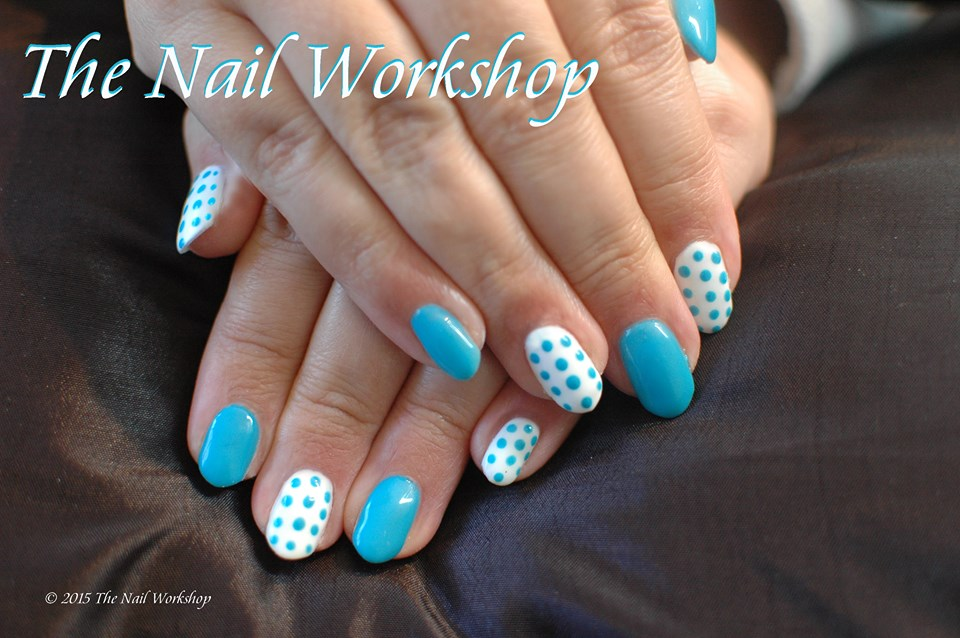 Shellac Blue with Blue and White Dots