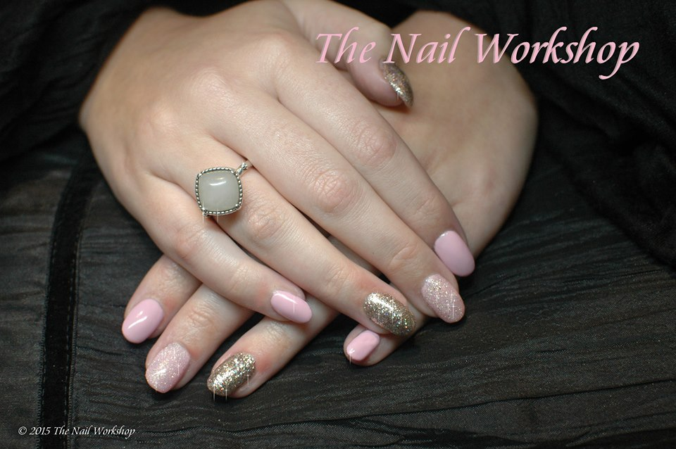 Shellac Pink and Gold Glitter