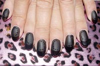 Gelish Black Matte with glossy accents - Click here to enlarge this image