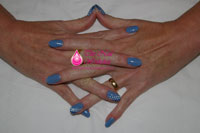 Blue Gelish with swirl dots - Click here to enlarge this image