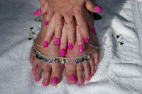 Candyland Toes with white dots- Click here to enlarge this image