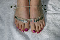 Neon Toes with Polka Dots - Click here to enlarge this image
