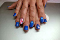 Gelish Ocean Wave with Union Jack and flower detail