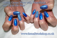 Gelish Ocean Wave with waterfileds and Up in The Blue - Click here to enlarge this image