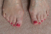Red Toes with Polka Dots - Click here to enlarge this image