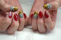 Gelish Red y to Wear with Animal Print accents nails - Click here to enlarge this image